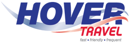 Blue and red Hovertravel Logo